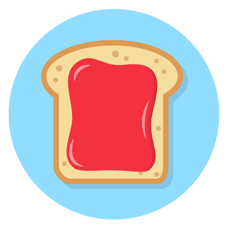 Toast with red strawberry fruit spread Flat Design Icon