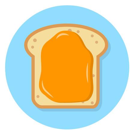 Toast with honey spread Flat Design Icon