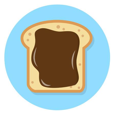 Toast with chocolate spread Flat Design Icon Illustration