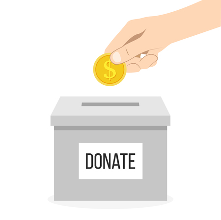 Donation box with hand and money flat design Vectores
