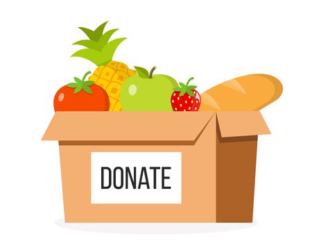Donation box food flat design isolated on white background Illustration