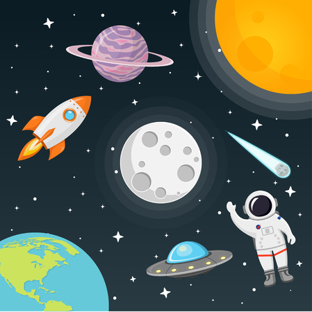 space with moon, sun, rocket, astronaut, planet, comet, earth flat design