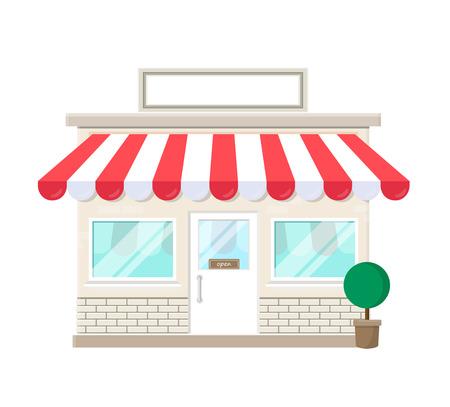 Ladengeschäftsikone mit leerem Schildfassadenhaus lokalisiert auf weißem Hintergrund