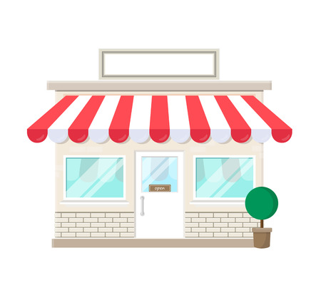 tienda, tienda, icono, con, señal en blanco, fachada, casa, aislado, blanco, plano de fondo