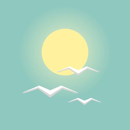 Sea gulls with sun flat design icon Illustration