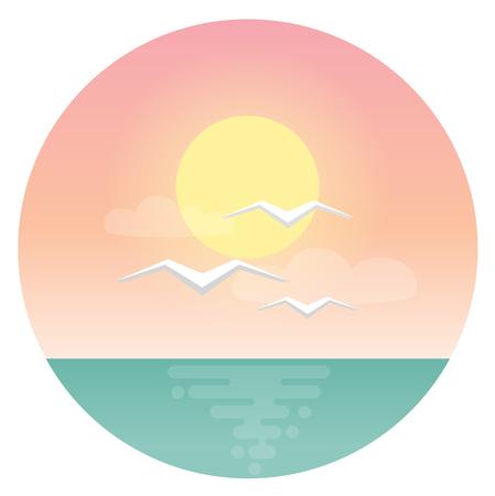 Sea gulls with morning sea sun and ocean flat design icon