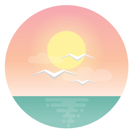 Sea gulls with morning sea sun and ocean flat design icon