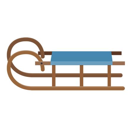 wooden old school sledge flat design isolated on white background Illustration