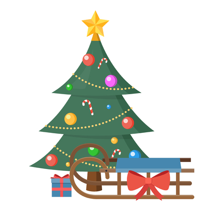 Christmas tree with present  flat design isolated on white background Illustration