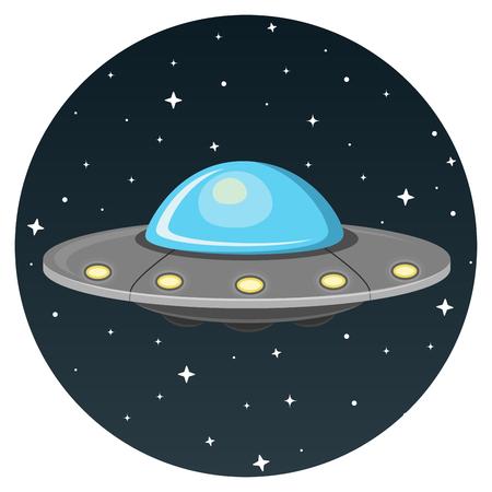 UFO flat design icon isolated on white background