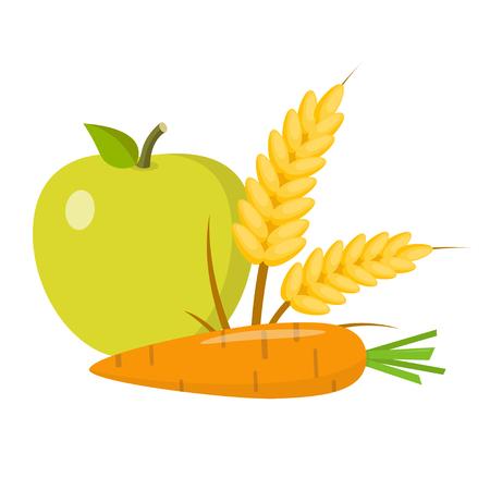 Vegan flat design food icon Illustration