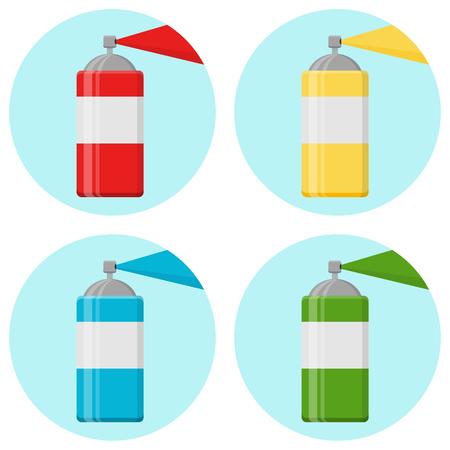 aerosol graffiti paint spray can Flat Design Icon Illustration