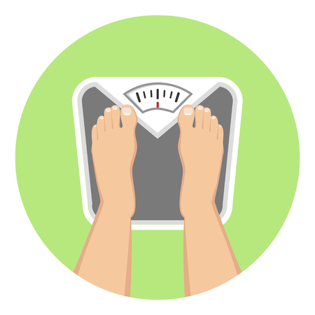 Feet on weighing scales Flat Design Icon Illustration