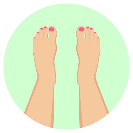 female feet flat design icon Illustration