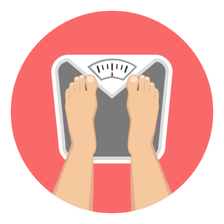 Feet on weighing scales Flat Design Icon Ilustração