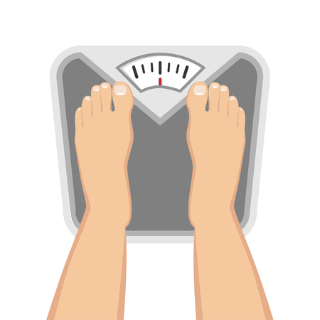Feet on weighing scales Flat Design Icon 向量圖像