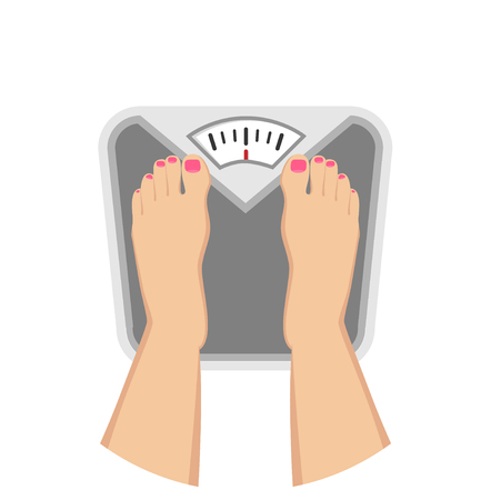 female Feet on weighing scales Flat Design Icon Çizim