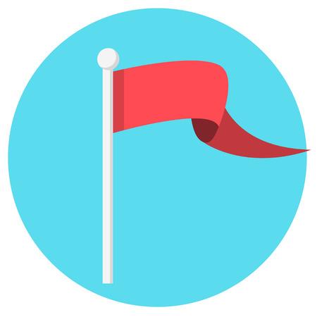Red flag banner flat design icon Illustration