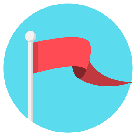Red flag banner flat design icon Çizim