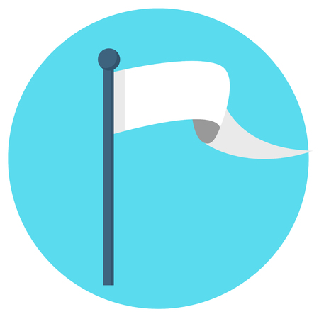 White flag banner flat design icon