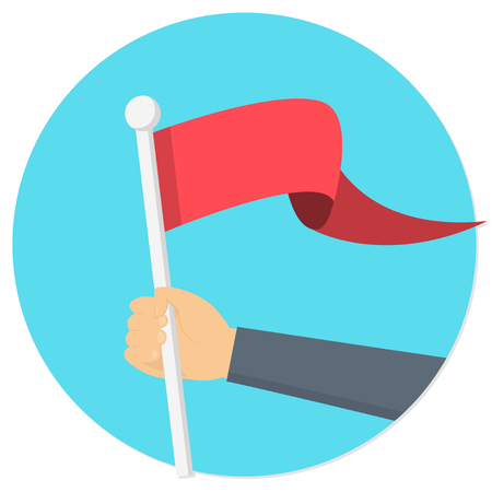 hand holding a red flag banner flat design icon