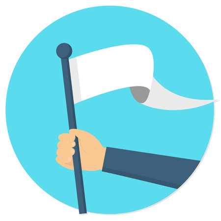 hand holding a white flag banner flat design icon