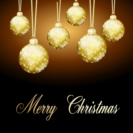 background gold christmas balls Stock Photo