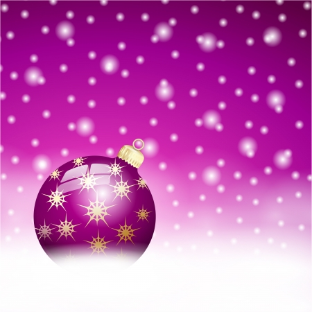 purple christmas ball on the snow background