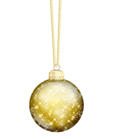 a golden christmas ball on white background