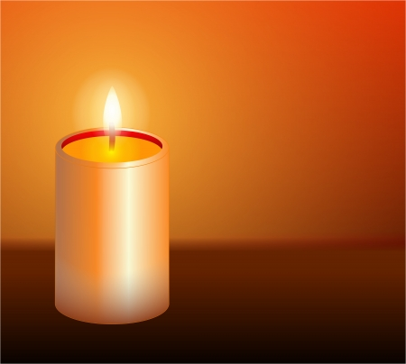 burning candle  on orange background Stock Photo