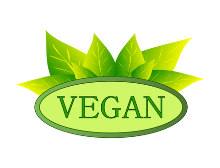 green vegan label on white background