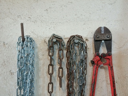 Bolt cutters and chain