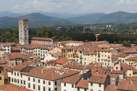 townscape: Townscape of Lucca with amphitheatre Stock Photo