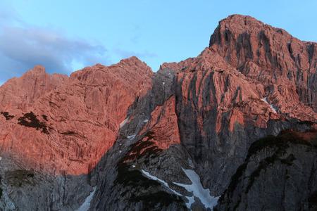 alpenglow: Mountain Totenkirchl with alpine glow