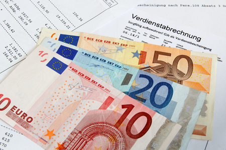 taxable income: German payroll with euro banknotes Stock Photo