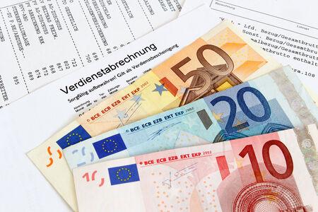 payroll: German payroll with euro banknotes Stock Photo