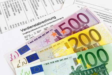 German payroll with euro banknotes Stock Photo
