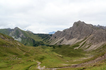 Mountain panorama with alpine hat Landsberger hut and Lachenspitze