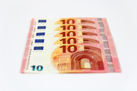 euro area: New ten euro banknotes front from the europe series with depth of focus