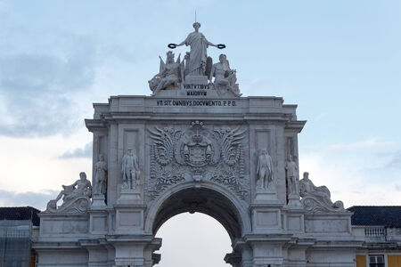 augusta: Rua Augusta Arch in front Lisbon in the evening