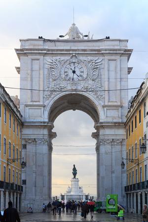 augusta: Rua Augusta Arch Backside in Lisbon in rainy conditions