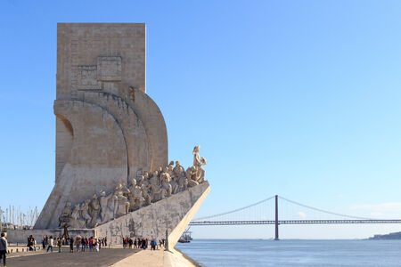 Padrao dos Descobrimentos - Monument to the Discoveries and 25 de Abril Bridge in Lisbon
