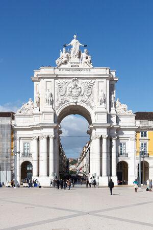 augusta: Frente Arco de Rua Augusta en Lisboa