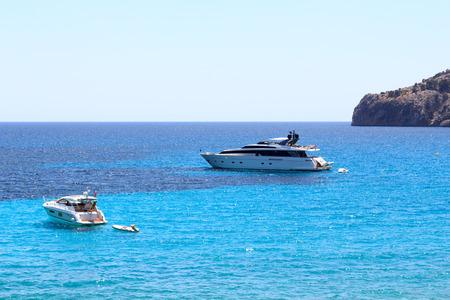 Yachts at anchor in Sant Elm, Majorca, Spain