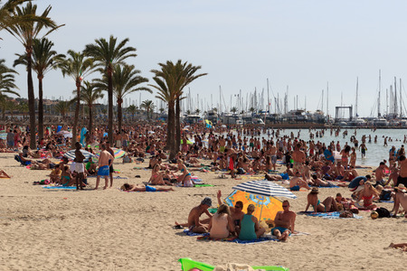 Crowded beach in El Arenal, Majorca, Spain