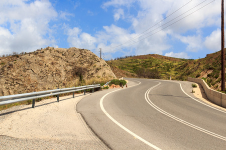 switchback: Serpentine road in the mountains in Rhodes, Greece