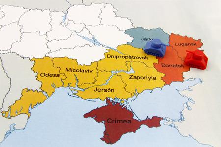 separatist: Map of War in Donbass, Ukraine with tank