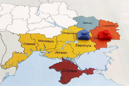 annexation: Map of War in Donbass, Ukraine with tank