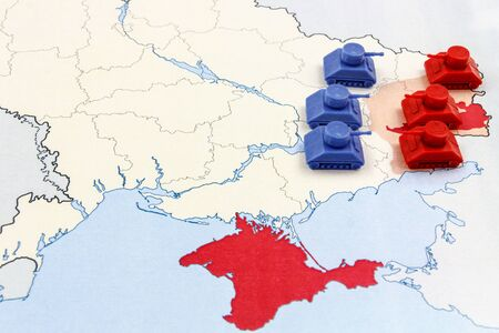 annexation: Map of War in Donbass, Ukraine with Tanks