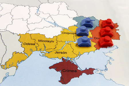 Map Of War In Donbass Ukraine With Numerical Superiority Of Stock